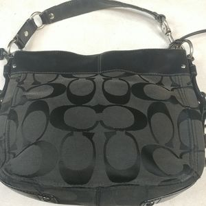 "COACH Black Fabric bag 12"" x 10"" x 4""."